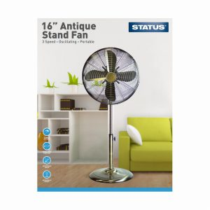 16″ Antique Brass Stand Fan – Oscillating – 3 Speed Settings – S