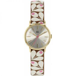 Orla Kiely Watch Patricia Tan And Pink Print