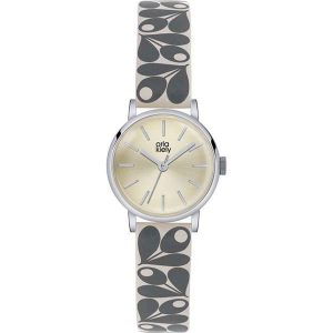 Orla Kiely Watch Cream Dial With Grey And Cream Strap