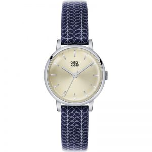 Orla Kiely Watch Patricia Cream Dial With Navy And Cream Strap