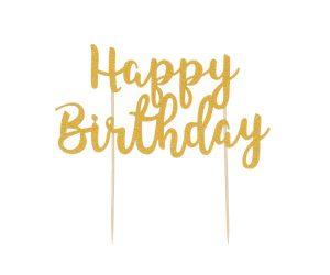 Mason Cash Cake Topper Happy Birthday Gold