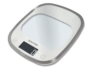 Salter Electrical Kitchen Scale Curve Glass White
