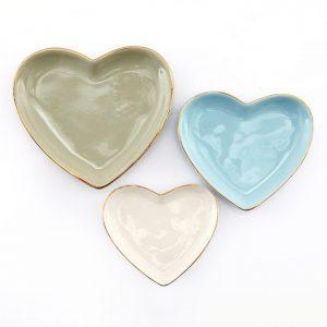 SET OF 3 HEART TRINKET TRAYS