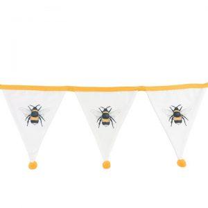 WHITE SINGLE BEE FABRIC BUNTING