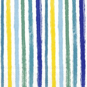 Napkin Colourful Stripes Blue And Yellow x20
