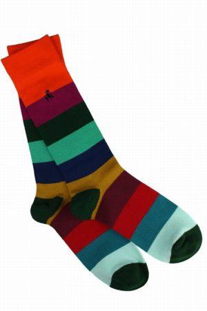 Block Striped Bamboo Socks Mens Size 7-11