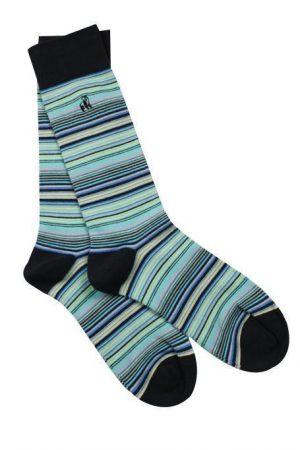Navy/ Blue Narrow Stripe Bamboo Socks Mens Size 7-11