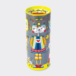 Rachel Ellen 3 Tiered Swivel Money Tin- Robots