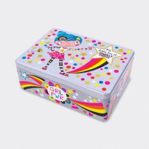 Rachel Ellen Rectangular Tin- Box of Sparkly Things/ Girl Power