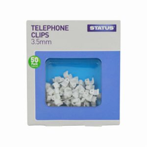 3.5mm – White – Status – Telephone Cable Clips – 50 pk