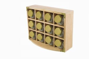 Kitchen Pantry – Acacia Spice Rack With 12 Spice Jars