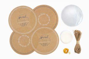 Kitchen Pantry – 24Pc Kraft Paper Jam Jar Cover Set