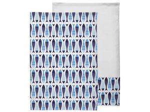 Pisces Tea Towels x 2 Blue/ White