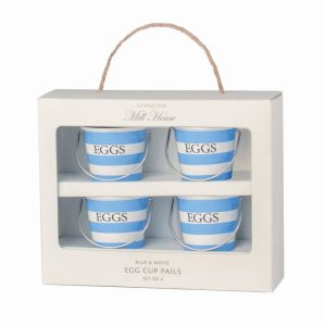 Blue and White Egg Cup Pails- Set of 4