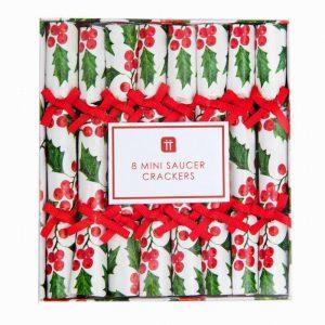 Botanical Holly Saucer Crackers, 8Pk