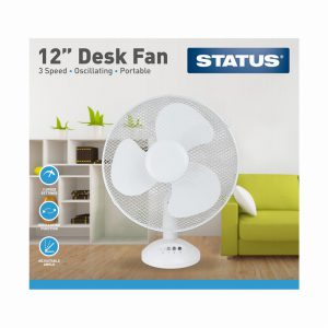 12″ White Desk Fan – Oscillating – 3 Speed Settings