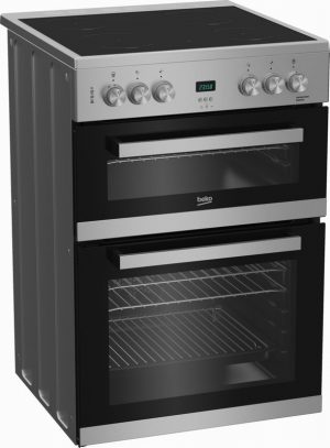 Beko EDC633S 60cm Double Oven Electric Cooker with Ceramic Hob –