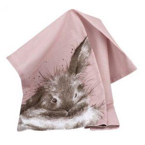 Wrendale Tea Towel Rabbit Pink