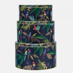 Sara Miller Round Cake Tin Parrots Large