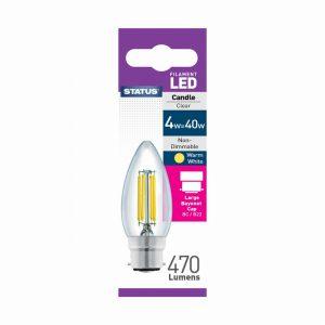 Candle Filament LED 4W 470 Lumen Clear Bayonet Cap