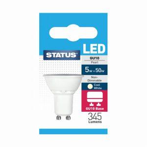 5w = 360 lumens Status  LED GU10 100°  Pearl Cool White