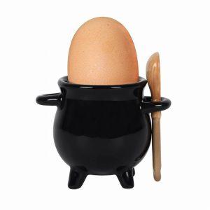 Cauldron Egg Cup With Broom Spoon