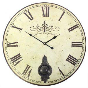 Large Vintage Style Cafe Des Marguerites Wall Clock