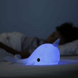 LED Night Light Blue Narwhal Medium